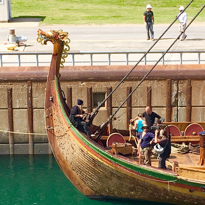 Viking replica ship sails the st lawrence after crossing the crew members aboard the draken a replica viking ship wait for the eisenhower lock to fill in massena on thursday afternoon photo todd moe ccuart Images