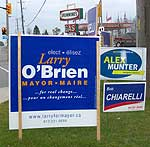 Candidate signs along Ontario road