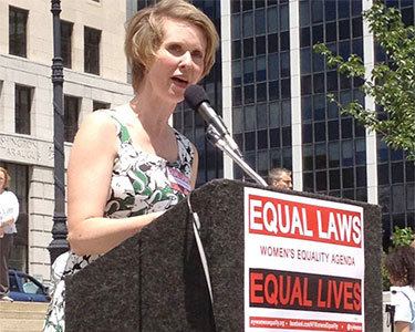 Actress Cynthia Nixon speaking at a rally in support of the Women's Equality Act in Albany in June 2013. Photo: Karen DeWitt
