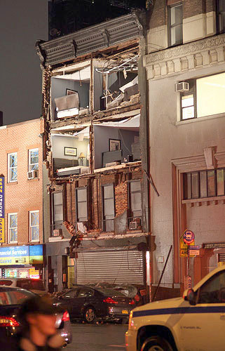 "A building in Manhattan's Chelsea neighborhood destroyed by Sandy. Photo<a href=""http://www.flickr.com/photos/ccho/""> CCHO</a>, CC <a href=""http://creativecommons.org/licenses/by-nc-nd/2.0/deed.en"">some rights reserved</a>"