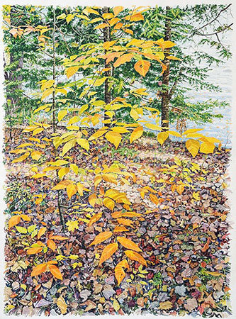 """Resurrection"", 91 x 70 inches, is among Tim Fortune's large watercolors on display through August 3rd at View in Old Forge."