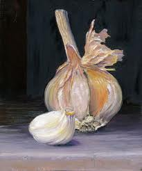 Garlic, Paul Pedersen, Hermon, Oil on masonite.