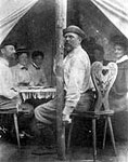 The dining tent with Dr. Gerster, family and friends (photo: Adirondack Museum)