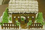Ruth Besio's cookie cottage (above). Building skills (below).
