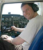 Reporter Gregory Warner mans the controls of a Cessna 172.