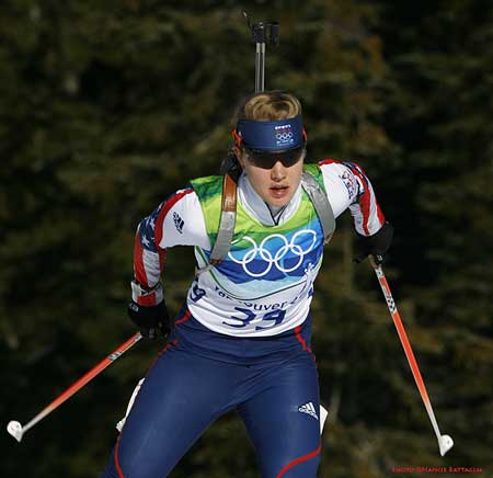 Haley Johnson of Lake Placid in the women's individual 15 kilometer biathlon yesterday. Photo by Nancie Battaglia.
