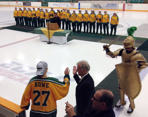 Clarkson Golden Knights bring championship trophy to Potsdam ...