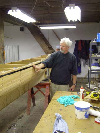 Peter Hornbeck in his shop in Olmstedville (Source:  Hornbeck boats website)