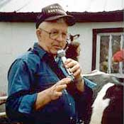 Roger Huntley at a family farm auction in Madrid, 2000.