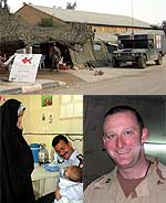 Top: aid station, bottom left: village clinic; bottom right: Medic Capt. Michael Dollard