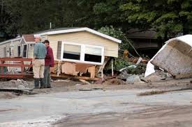 A mobile home uprooted by Irene. Photo by Kathy Regan.