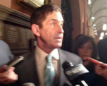 Sen, Co-Leader Jeff Klein talking with reporters after a closed meeting with medical marijuana bill sponsors. Photo: Karen DeWitt