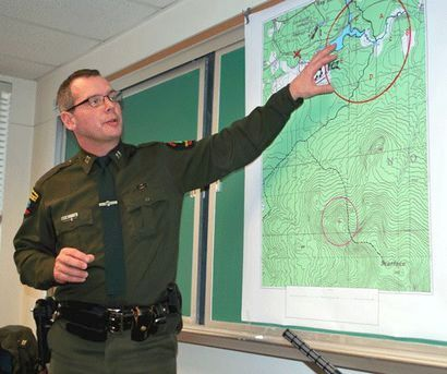 Forest Ranger Captain John Streiff during a press conference announcing discovery of McKay's body.  (Photo:  Chris Knight, Adirondack Daily Enterprise, used with permission)