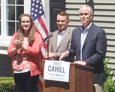 John P. Cahill (right) has entered the  NY Attorney General race for 2014. Photo: John Cahill campaign on Facebook