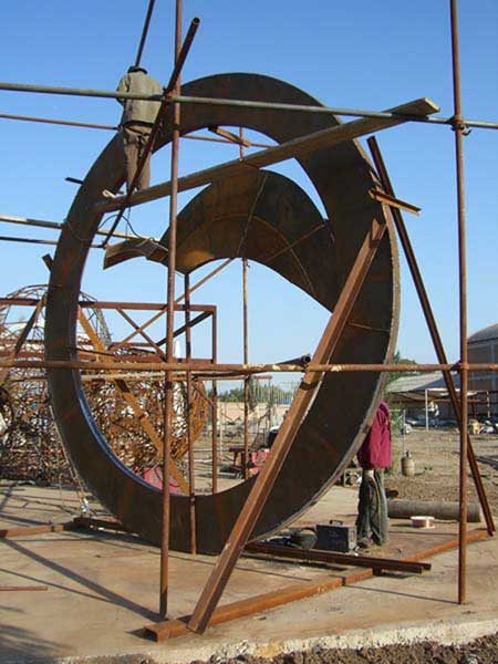 John Van Alstine's metal and stone sculpture under construction in Beijing