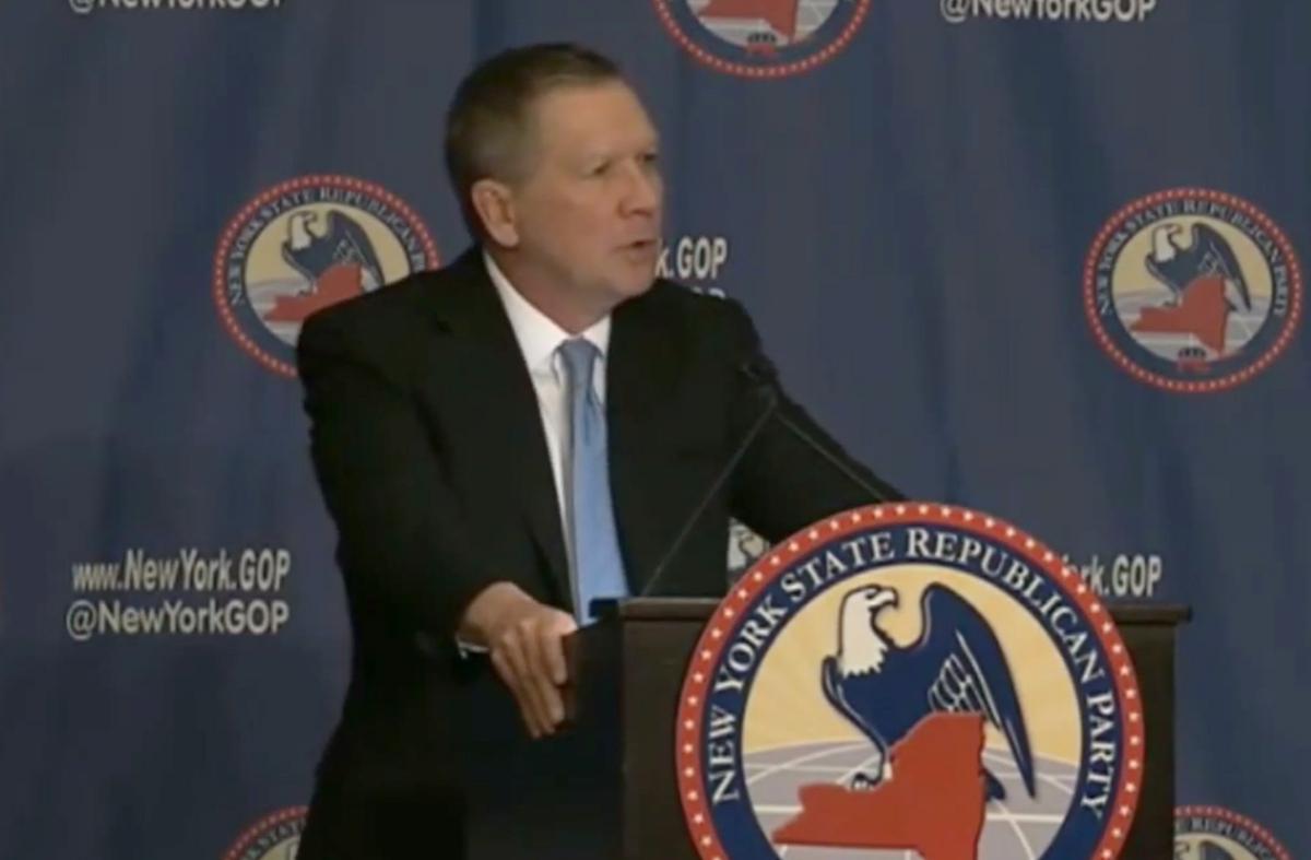 John Kasich speaks at the New York State GOP dinner Thursday night