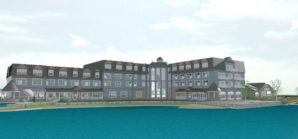 Architect S Rendering Of One View The Proposed New Hotel On Waterfront Lake Flower Image Lodging Llc