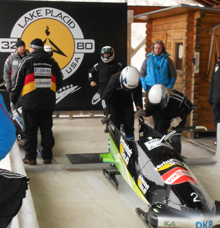International bobsled teams practise in Lake Placid ahead of this weekend's World Championships (Photo:  Brian Mann)