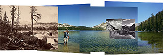 Four views from four times and one shoreline, Lake Tenaya,  2002, Mark Klett and Byron Wolfe.