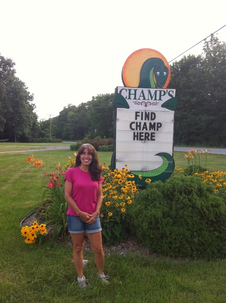 Lorraine Franklin, in front of her gift shop sign. Photo: Sarah Harris