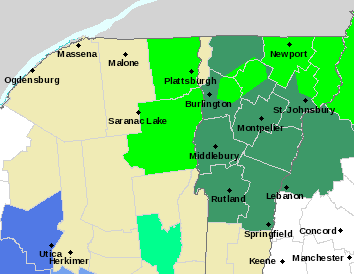 Flood warnings and watches were in effect across much of the region Saturday (Image:  National Weather Service Burlington)