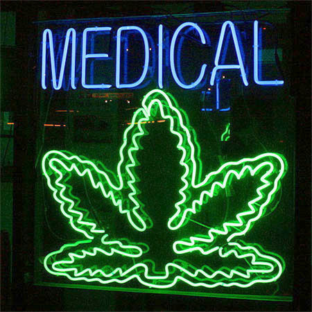 "Neon sign at a medical marijuana dispensary in California. Photo: <a href=""http://www.flickr.com/photos/28402283@N07/3410000930/"">Chuck Coker</a>, Creative Commons, some rights reserved"