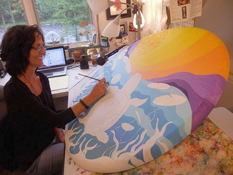 Artist Marion Bradish in her studio along the St. Regis. Photo: Todd Moe