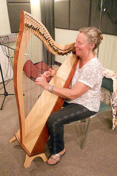 "Martha Gallagher and her ""Orphan Harp"" at NCPR.  Photo:  Todd Moe"