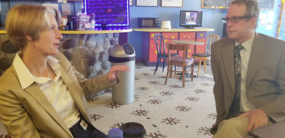 Martz met with Plattsburgh's Democratic Mayor Colin Read. Photo: Brian Mann