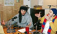 Mayhem Poets Kyle Sutton and <br />Scott Tarazevits in the studio.