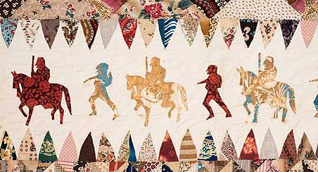 This quilt is believed to be made by a discharged soldier while recovering from wounds received in the Civil War.