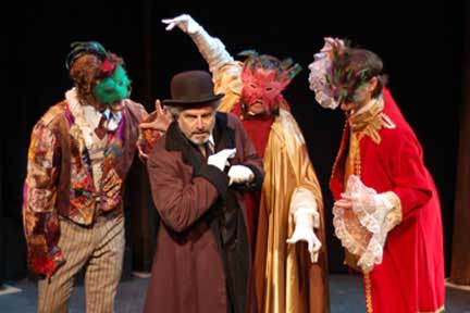 Jordan Hornstein as Shylock confronted in the street by a band or youthful masquers.