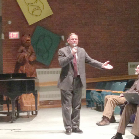Canton superintendent Bill Gregory explains the how and why of a potential merger. Photo: Sarah Harris