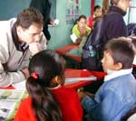 Lowville veterinarian Mark Thomas at the school in Malacapetec.