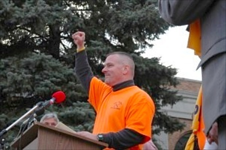 Michael Powers, speaking at a rally in Albany to save the Ogdensburg Correctional Facility. Photo from Powers' website, used by permission