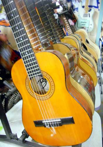 Guitars of all sorts, along with drums and a variety of wind instruments await borrowers at the library.