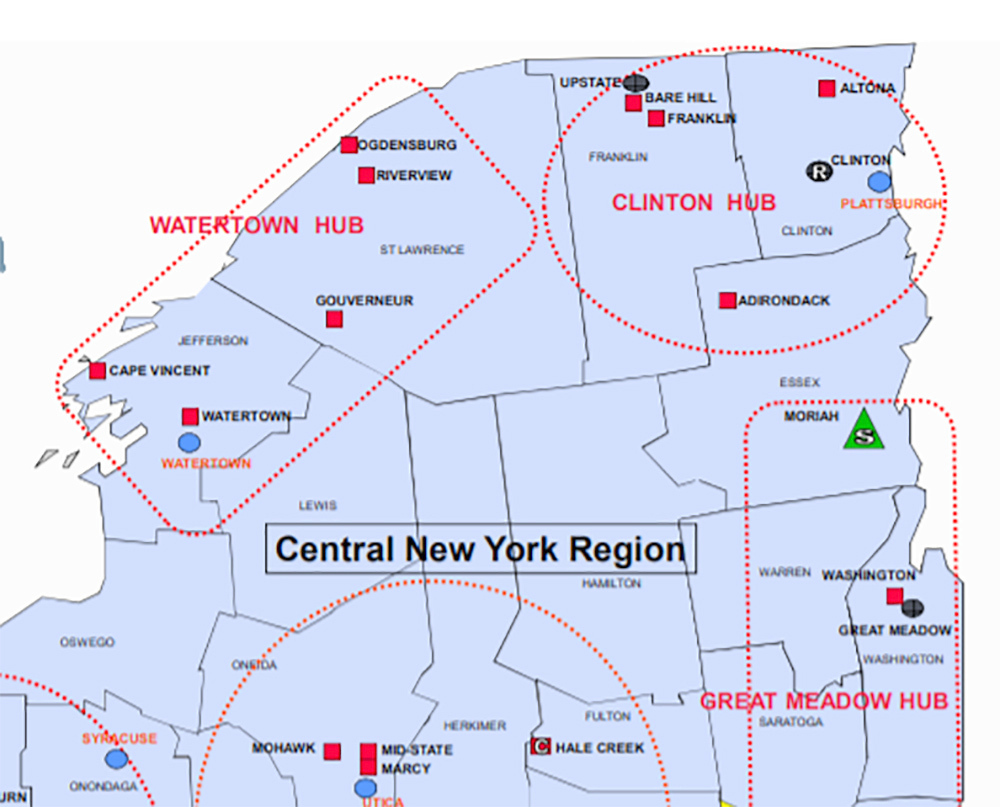 Map Of Northern New York.Democrats In Albany Rethink Using Ny S Prison System As An Economic