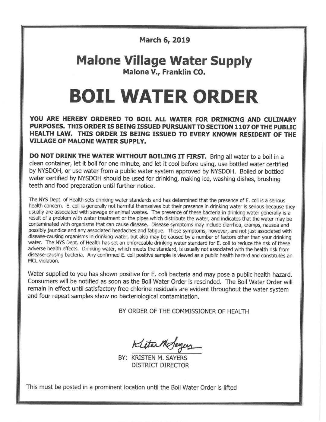 UPDATE: Boil water order lifted for village residents in