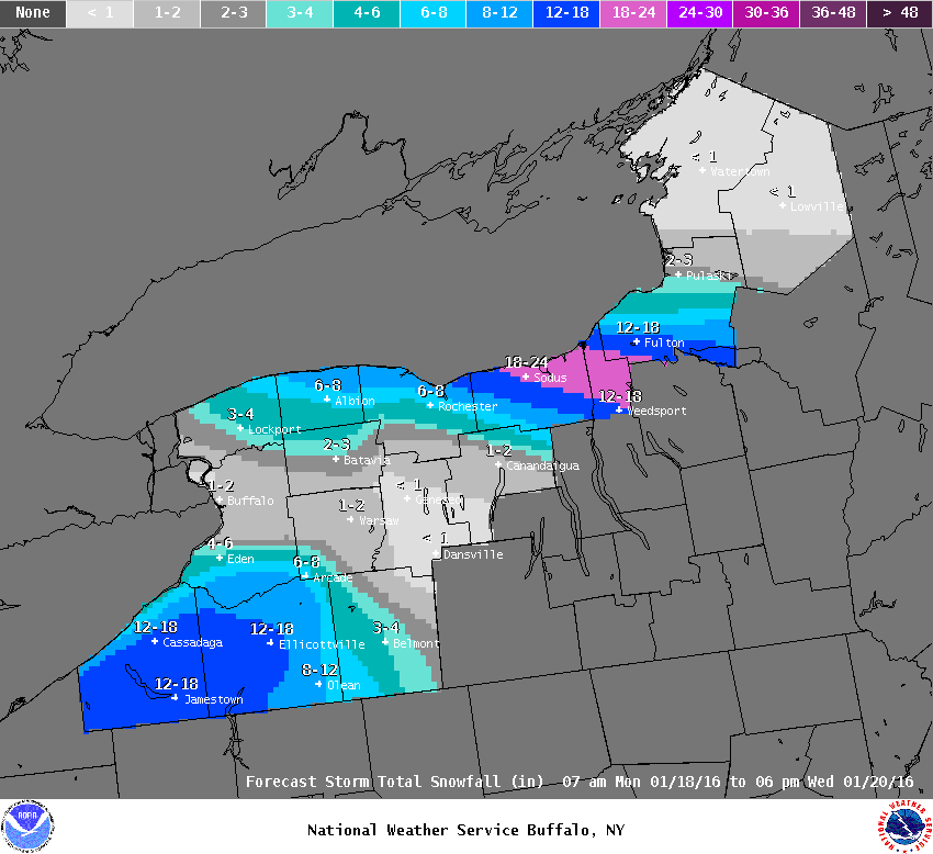Additional Snowfall Forecast For Western New York Tuesday 8 Am Through 6pm Wednesday Photo Us National Weather Service Buffalo Ny Facebook Page