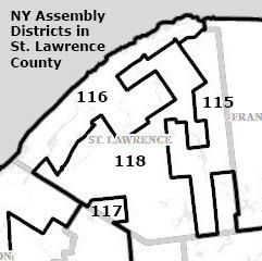 "St. Lawrence County towns are divided among four Assembly districts after the 2012 redistricting. Image: <a href=""http://www.latfor.state.ny.us/maps/?sec=2012a"">LATFOR</a>"