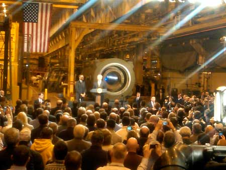 President Obama at the General Electric turbine assembly plant in Schenectady.