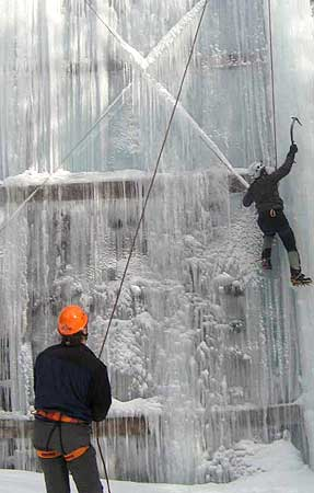 A first taste of ice on the Mountfest climbing wall