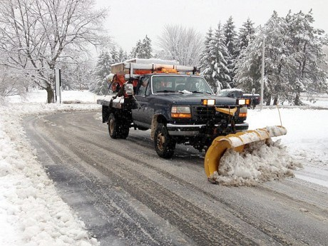 8:45 a.m. One in a series of visits from the snowplow at NCPR's building in Canton this morning. Photo by Zach Hirsch
