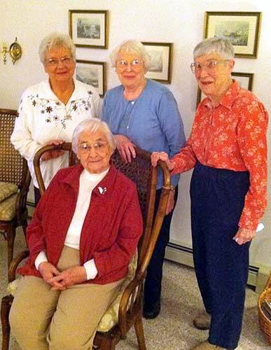 Barbara, Sally, Peggy and Kay gathered to share stories.