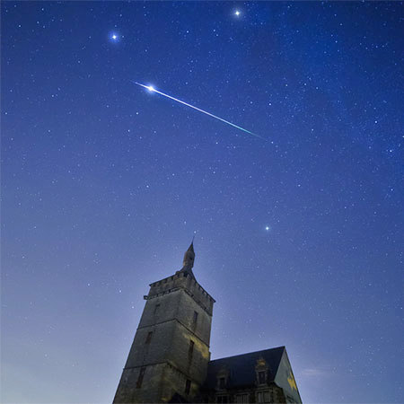 "A Perseid meteor exploding over Leuven, Belgium last night. Photo: <a href=""http://www.flickr.com/photos/88100135@N02/9496788419"">Tom Davidson</a>, Creative Commons, some rights reserved"