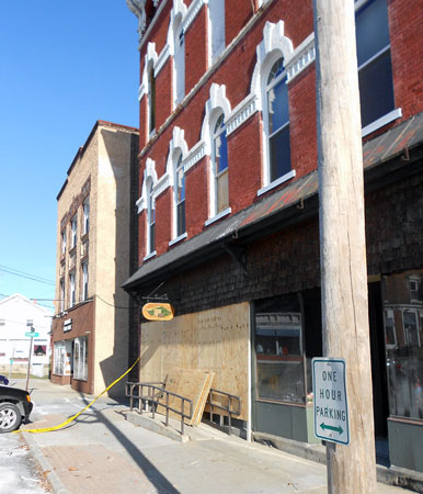 Port Henry's historic downtown block was threatened by an alleged arsonist. Photo: Brian Mann