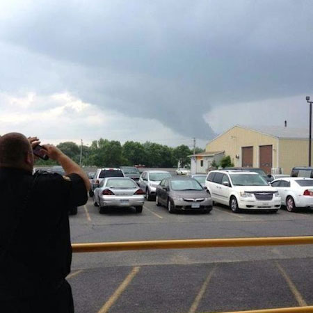 Tuesday's funnel cloud as seen from Canton. Photo: Danielle Tracy