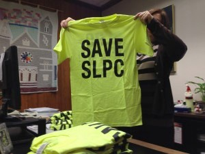Saved. The task force sold T-shirts to lead the effort to save jobs and services at the St. Lawrence Psychiatric Center in Ogdenbsurg. Photo: David Sommerstein