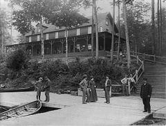 Disputed terrain?  A photograph of the Raquette Lake Hotel taken by Seneca Ray Stoddard in 1889.  Land disputes in the area date from that era.