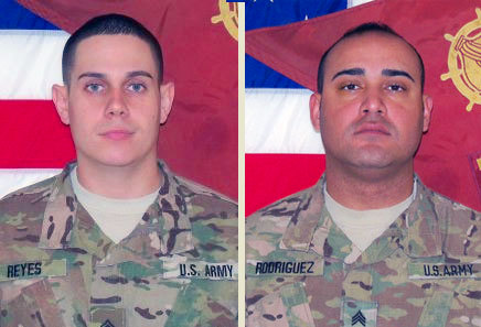 Sergeant Jose Reyes, of San Lorenzo, Puerto Rico (left), and Staff Sergeant Daniel Rodriguez of Baltimore, MD were remembered at the Fort Drum service on Thursday. Photos provided.